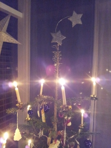Because the Swiss use real lit candles, the top branches are very far apart.