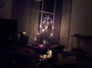 Traditional Swiss Christmas Tree, with candles.