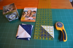 Heartland, and my (supposedly dutch fabric), half-square triangles.