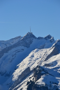 "The king of the Alpstein mountain range the ""Säntis"" with ""Ebenalp"" below."