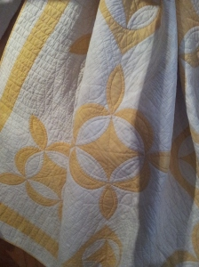 Antique Yellow & White Quilt. I assume Hand Quilted